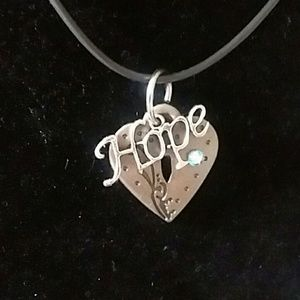 Jewelry - Heart of hope black cord